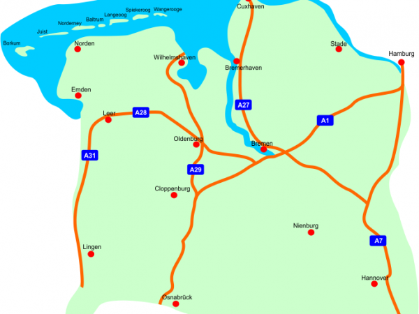 Einsatzbereich zwischen den ostfriesischen Inseln und Hannover – Hildesheim